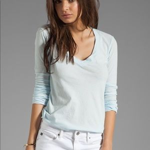 James Perse blue relaxed long-sleeve v neck shirt